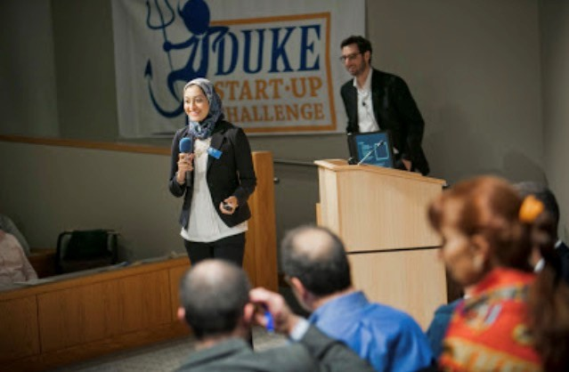 Afreen Allam presenting at the Duke StartUp Challenge