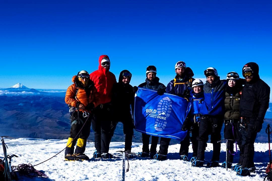 Olivia Klupar summiting Mount Cayambe in Ecuador with Duke's BOLD team