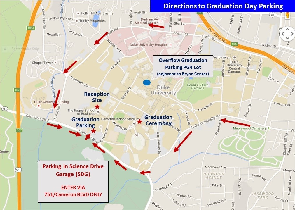 Map showing directions to graduation day parking