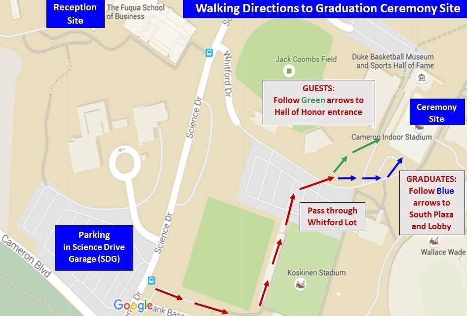 Map showing walking directions to graduation ceremony site
